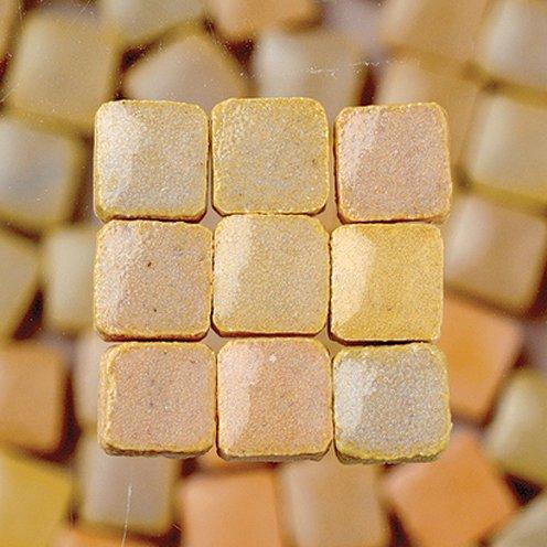 MosaicMicros 5 x 5 x 3 mm, 10 g, Confezione da 100 Pezzi, in Ceramica Smaltata, Mini mattonelle a Mosaico, Colore: Beige