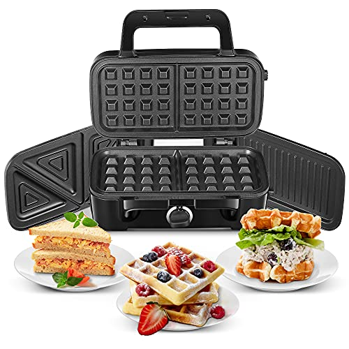 Waffle Maker 3 in 1, Sandwich Machine Maker with 3 Interchangeable Plates, Deep Fill Sandwich Toasters & Panini Presses with 5 Gears Temperature, Non Stick Coating Easy to Clean,1200W, Black