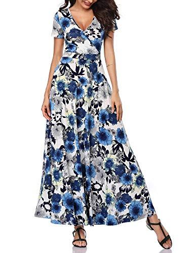 HUHOT Women Long Dresses Short Sleeves V Neck A Line Unique Cross Wrap Summer Maxi Sun Dresses 19020-6 Medium