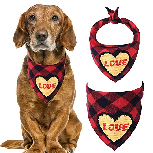 Hond Bandana, Plaid slabbetje sjaal, Valentijnsdag wasbaar omkeerbaar driehoek hond sjaal vliegen voor huisdieren en katten Rode geruit gouden liefde.