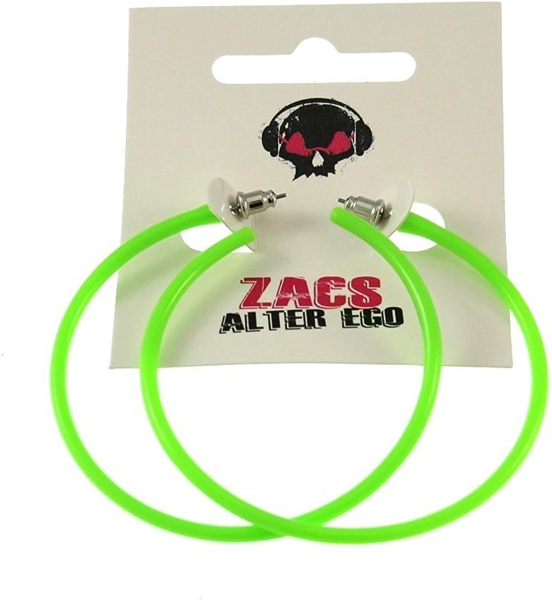 Zac's Alter Ego Plastic Hoop Neon Earrings for Fancy Dress - 80s/ Pop/Clubbers