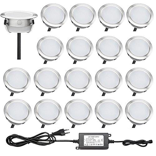 QACA Lot de 20 Luminaires Extérieur Encastré Terrasse Bois Luminaire Kits DC 12V Etanche IP67 LED Spot Encastrables Etanche pour Patio Escalier (Bleu)