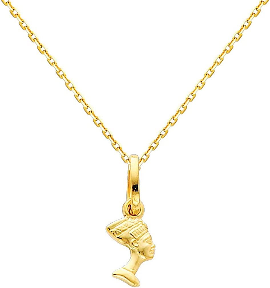 GM Fine Jewelry 14k Yellow Gold Queen Nefertiti Charm Pendant with 0.9mm Oval Angled Cut Rolo Cable Chain Necklace