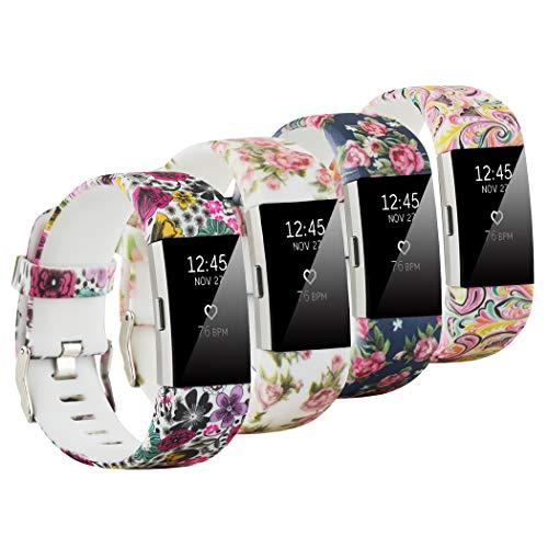Fit-power - Correa de repuesto para Fitbit Charge 2, accesorio ajustable para pulsera de actividad física Fitbit Charge 2, pequeña y grande, Pack of 4A, Large Size
