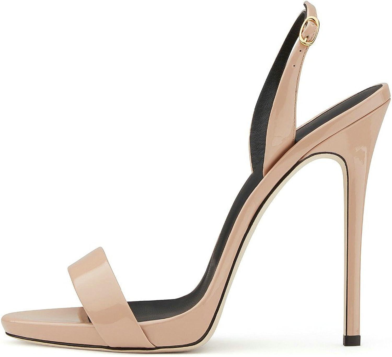 AIWEIYi Womens Open Toe Stiletto High Heel Dress Sandals gold
