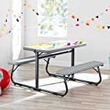 Innovative and Sturdy Your Zone Folding Kid's Activity Table with Two Benches,Soft Silver,Perfect for Homework,Arts and Grafts,Games,Wonderful Addition to Kid's Bedroom,Play/Activity Room,Classroom