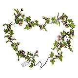 Cadena de Luces - Guirnalda Luces 2M 20 LEDs Flores de Rosas Artificiales Bombillas Decoración Interior, Jardines, Casas, Boda, Fiesta de Navidad