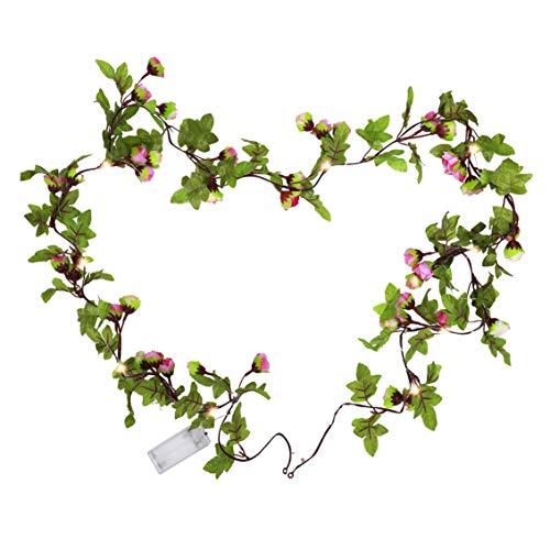 Lichterkette mit 20 LEDs Kugel 2m Künstliche Rosenblüten Girlande Innen & Außenlichterkette Dekoration für Weihnachten Fenster Garten Party Festen