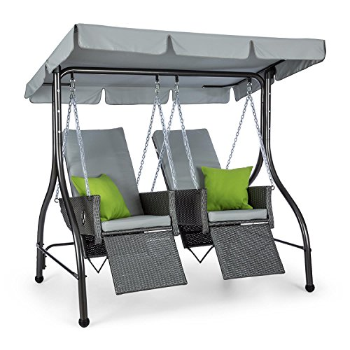 blumfeldt Concordia - Hollywoodschaukel, Gartenschaukel, aus massivem Stahlrohr, 2 getrennt aufgehängte Sitze aus Polyrattan, max. Belastbarkeit: 250kg, Sonnendach, 6 cm Dicke Polsterung, grau