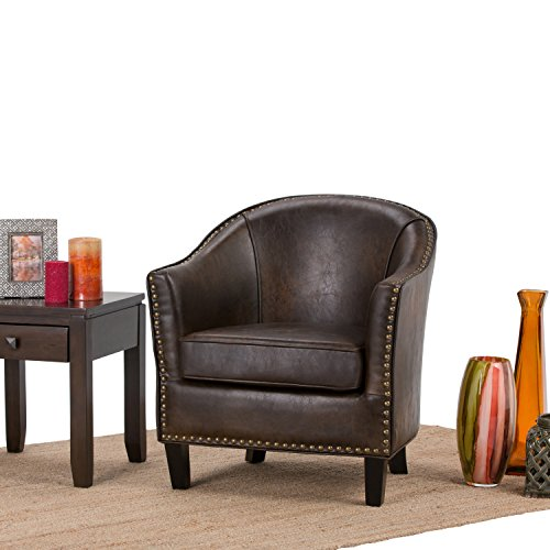 SIMPLIHOME Kildare 29 inch Wide Transitional Tub Chair in Bonded Leather in Distressed Brown, with Nail head trim, SOLID WOOD Legs , Simple Assembly, Just Attach Legs