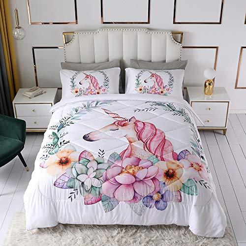 OLDBIAO Einhorn Bettdecke 135x200cm mit Kissenbezug, Soft und Bequem, Weiß Steppdecke Atmungsaktiv Decke 4 Jahreszeiten für Kinder Mädchen Weihnachten Geschenk