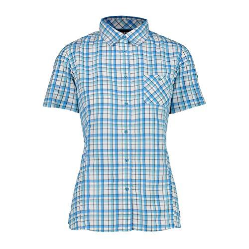 CMP Camiseta de Manga Corta para Mujer con Estampado a Cuadros, Mujer,...
