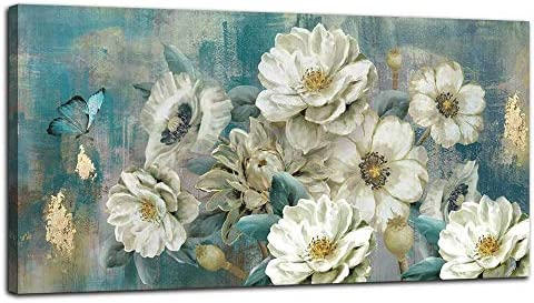 Arjun Canvas Wall Art White Flowers Elegant Modern Picture Foil Gold Rustic Painting Colorful product image