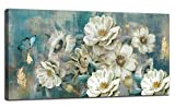 Arjun Canvas Wall Art White Flowers Elegant Modern Picture, Foil Gold Rustic Painting Colorful Turquoise Floral 40'x20' Large Size Teal Artwork for Living Room Bedroom Dining Room Home Office Decor