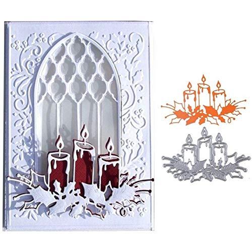 Litty089 - Fustella in metallo a forma di candela, per decorazioni fai da te, album di ritagli, biglietti, foto e stencil, Colore unico, Argento