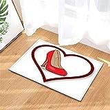 Red Heart-Shaped High Heels. BathroomMat:40X60Cm/15.7X23.6Inches.PlusVelvet.Non-Slip.EasytoClean.