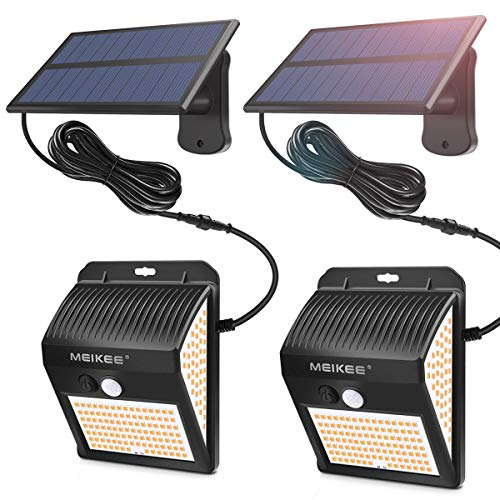 MEIKEE Sicherheitsbeleuchtung mit Bewegungsmelder, 200 LEDs, 2 Solar-Wandleuchten mit 3000 K, LED-Spot, entspricht einer 60 W Halogenlampe für Terrasse, wasserdicht IP65