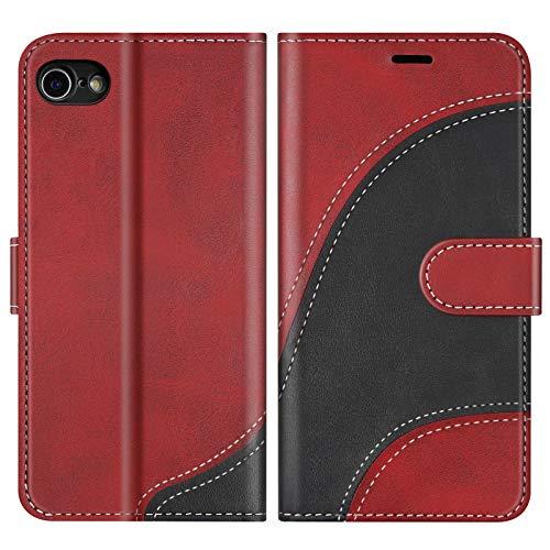 BoxTii Hülle für iPhone SE 2020 / iPhone 8 / iPhone 7, Leder Handyhülle für iPhone SE 2020 / iPhone 8 / iPhone 7, Ledertasche Klapphülle Schutzhülle mit Kartenfächer und Magnetverschluss, Rot