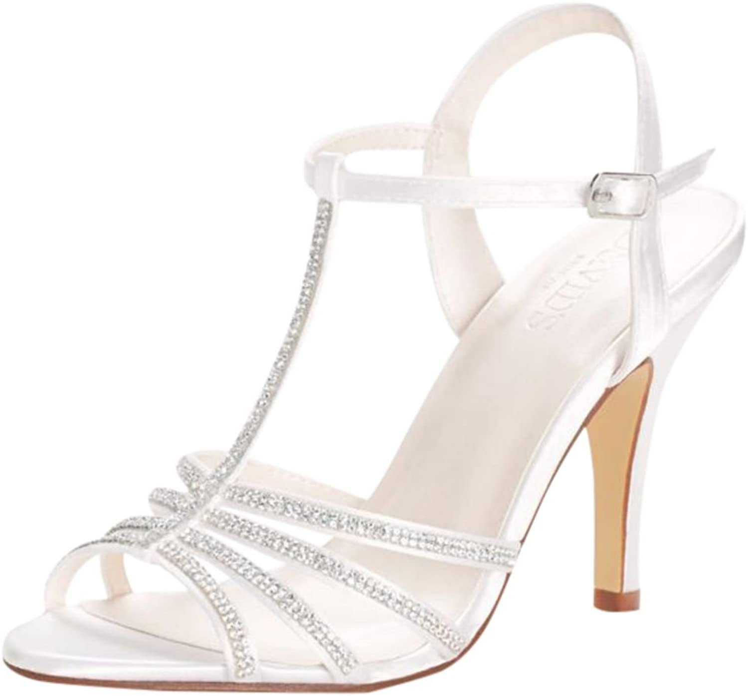 David's Bridal Women's Hannah Crystal T-Strap High Heel Sandal