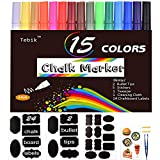 Tebik Liquid Chalk Marker Set, 15 Bright Colors Erasable Chalkboard Paint Pens with 24 Chalkboard Labels, 5 Stickers, 1 Cloth, 1 Tweezer and 2 Tips, Good for Chalkboards, Bistro Boards, Glass