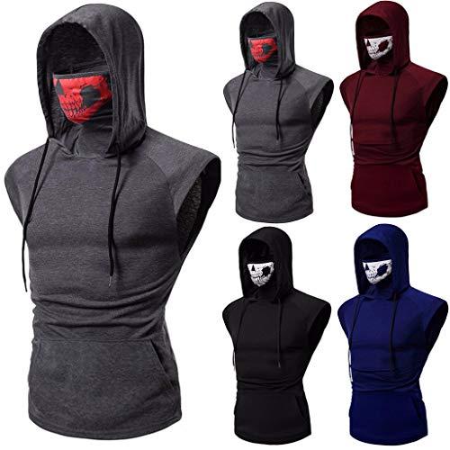 Yuinb Herren Kapuzensweatshirt ohne Ärmel Freizeit Sweatshirt mit Kapuze Schädel Maske atmungsaktiv Hemd Herren Slim Fit T-Shirt Gr. M, dunkelblau