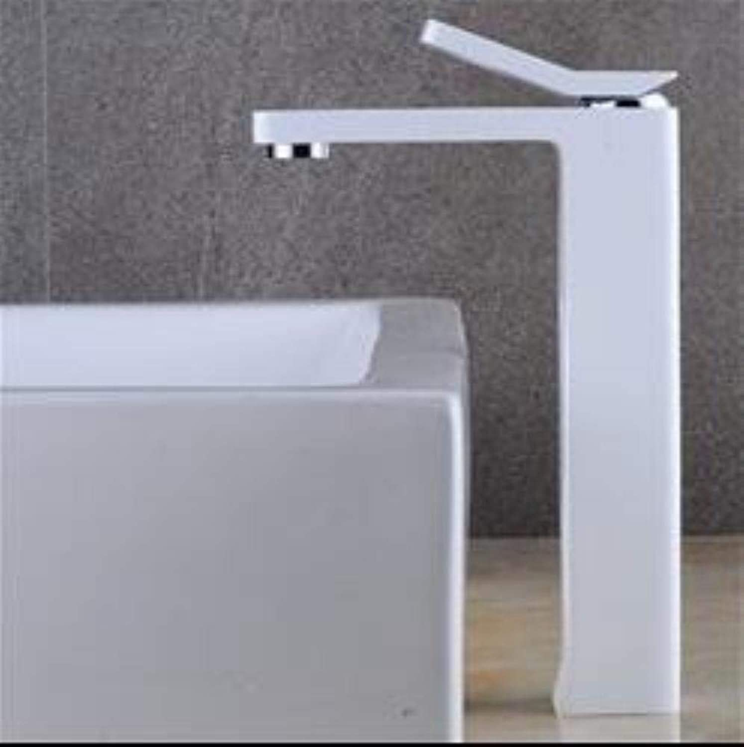 Kai&Guo Fashsion brass Basin Faucet hot and cold Water Faucet black single lever Wash Faucet bathroom sink faucet basin tap,long white