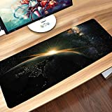 Alfombrilla goma antideslizante para ratón,Galaxy Set, Sunrise View of The Planet Earth from Space with Stars in Milky Way Outer Space Arts Pri,Lavable, con diseños, para Gamers, PC y Portátil60x35 cm