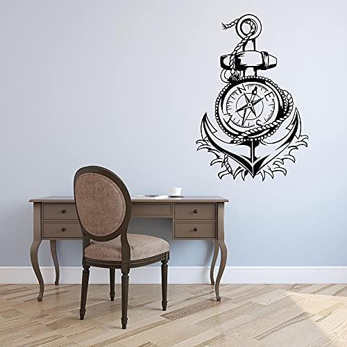 TANGBOS Pegatina de pared con brújula de anclaje náutico para decoración de la sala de estar, 43 x 29 cm