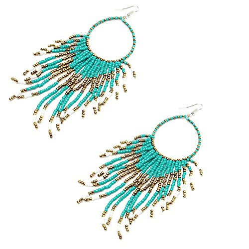 Fasclot Bohemian Fringed Long Section of Big Beads Pendant Drop Earrings