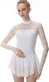 White Figure Skating Dress Fingerpoint Sleeves Ice Skating Skirt Long-Sleeved Spandex Skirt Competition Dresses