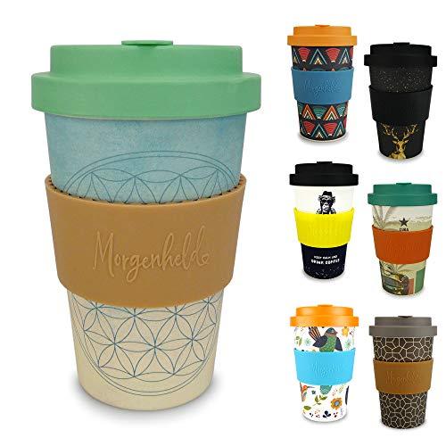 Morgenheld Dein trendiger Bambusbecher | Coffee-to-Go-Becher Blume des Lebens | Kaffeebecher mit Schraubdeckel und Banderole in coolem Design 400 ml