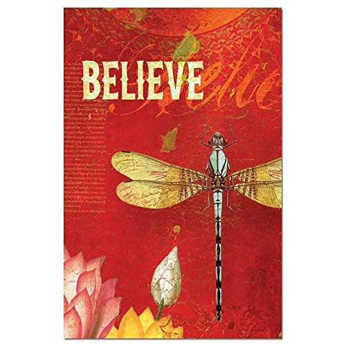 """Tree-Free Greetings EcoNotes Stationary- Blank Note Cards with Envelopes, 4"""" x 6"""", Believe, Inspirational Dragonfly Themed, Boxed Set of 12 (FS66548)"""