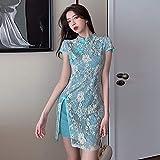 XKMY Vestido chino para mujer, elegante, de manga larga, estilo chino, Cheongsam Lady Retro Slim Qi Pao, vestido de novia de encaje coreano, sexy, vintage, Qipao Club Party (color: 3, tamaño: M)