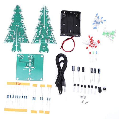 Beku Árbol de Navidad 3D, árbol de Navidad estéreo de DIY del PWB, decoración del día de Fiesta de la decoración de la Navidad para la decoración de la Navidad(Three-Color DIY Set)