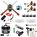 QWinOut DIY RC Drone Kit F450-V2 FPV Quadcopter with AT9S Remote Controller Mini PIX Mini GPS Q6 4K Wide Angle Action Camera FPV Watch / FPV Goggles Full Set Drone Kit (FPV Watch Version)