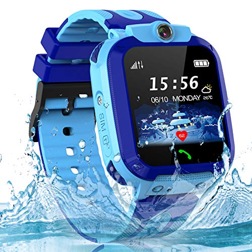 Smartwatch Kinder Wasserdicht Uhr Phone Kinder LBS Tracker mit SOS Voice Chat Kinder Smart Watch für Jungen und Mädchen Geburtstagsgeschenk (Blue)