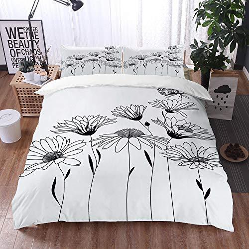 Juego de Fundas de edredón,Diseño Floral Contorno Dibujo Ramo De Flores Estilizadas,Fundas Edredón 135 x 200 cmcon 1 Funda de Almohada 40x75cm