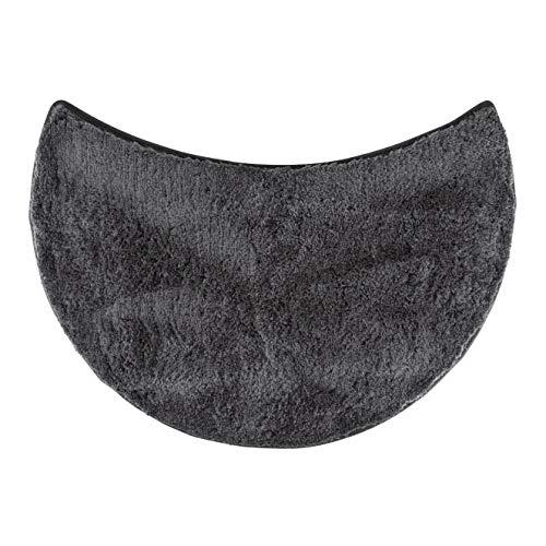 FLUFFY Badteppich für Rundduschen, Hochflor aus Mikrofaser, rutschfeste Unterseite (Anthrazit)