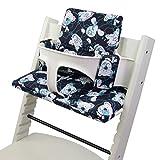 BambiniWelt - Cojín de asiento para trona Stokke Tripp Trapp, en 20colores, asiento de 2piezas, funda de repuesto Marine Blaue Teddys