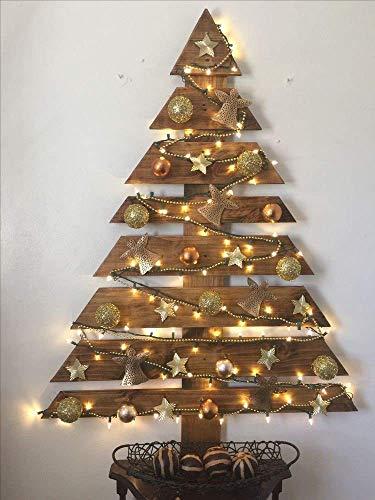 árbol de navidad de madera de pino en tono envejecido 110 cm h