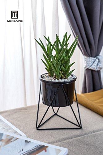 Maxiliving geometrische bloempot, keramiek met ijzeren kunstlijst, voor op kantoor, in de tuin, decoratieve bloempot Zwarte pot + zwart frame.