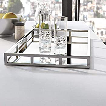 Mirrored Vanity Tray Decorative Large Serving Tray with Chrome Rails for Display Perfume Vanity Dresser and Bathroom Elegant Mirror Tray –20X14 Inch