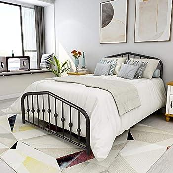 Metal Bed Full Size Platform Bed Frame Morden Design Heavy Duty Steel Slat and 9-Leg Support  Full ,Black