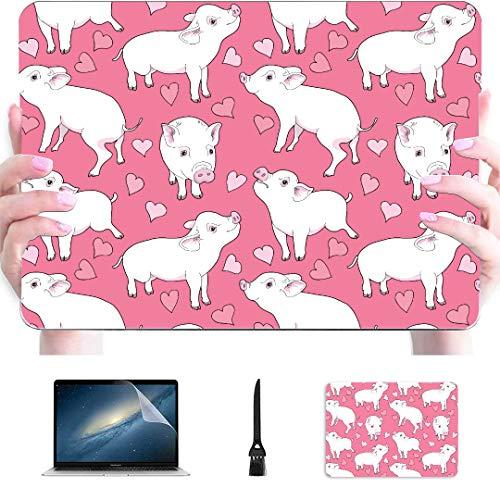 Accesorios para Macbook Estuche Imagen Transparente Mini Cerdos Corazones Plástico Carcasa rígida Compatible con Mac Air 13'Pro 13' / 16'Cubierta para Macbook Cubierta Protectora de 15 Pulgadas par