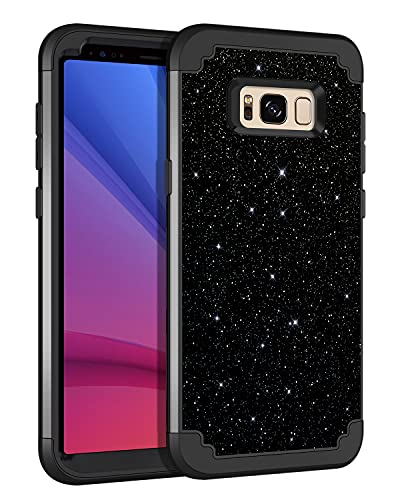 Lontect for Galaxy S8 Plus Case, S8+ Case Glitter Sparkle Bling 3 in 1 Heavy Duty Hybrid Sturdy High Impact Shockproof Cover Case for Samsung Galaxy S8 Plus 6.2 inch, Black