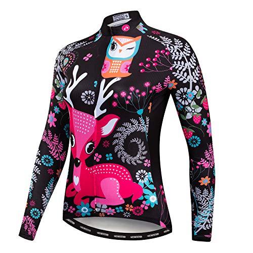 Weimostar Radfahren Langarm Jersey Frauen Mountainbike Jersey Shirts Lange Rennrad Kleidung MTB Tops Sportbekleidung Bier schwarz Größe XL
