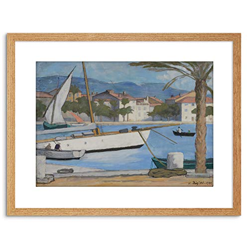 Painting Boats Henry Dezire SANARY Le Grand VOILIER 1925 Framed Art F97X12023