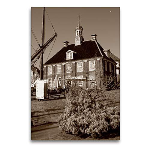 CALVENDO Premium Textil-Leinwand 60 x 90 cm Hoch-Format Alte Waage in Leer/Ostfriesland, Leinwanddruck von Peter Hebgen