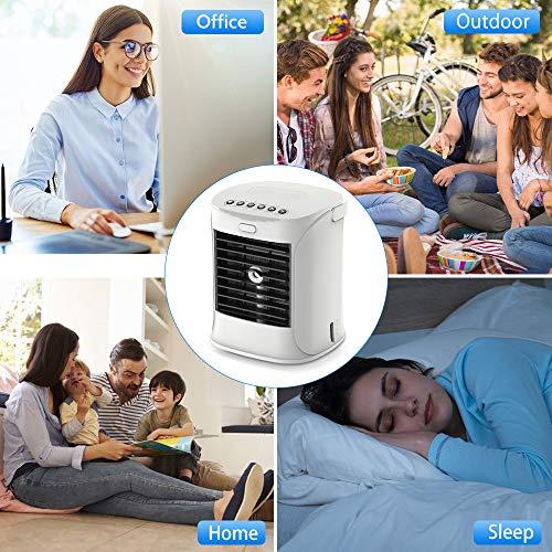 Mobile Klimageräte, Mini Tragbare Klimaanlage USB Luftkühler Ventilator Nachtlichter 3 in 1 Klimagerät Mobile mit 7 Farben LED Leuchten, 3 Geschwindigkeiten für Zuhause und Büro