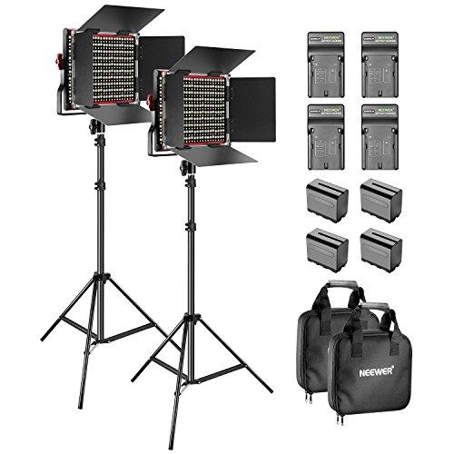Neewer Lot de 2 Lampes à LED à intensité Variable, Bicolore, 660 mAh, 6,5 Pieds, Support de lumière 4 6600 mAh, Li-ION, Batterie Chargeur d'éclairage pour Studio Photo Youtube vidéo Prise (Rouge)
